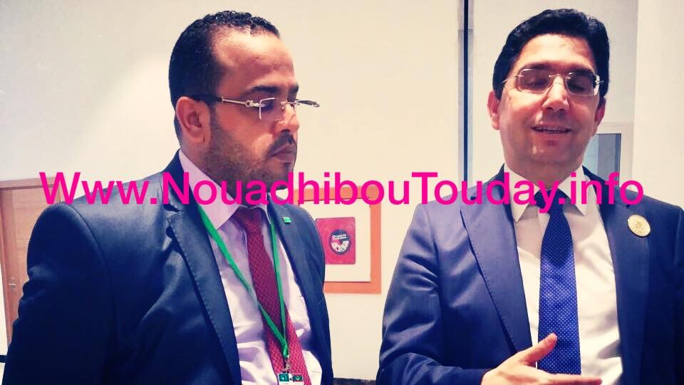 """وزير الشؤون المغربية خلال لقائه لموفد صحيفة"""" انواذيبو اليوم""""لتغطية فعاليات القمة الأفريقية"""